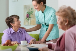 caregiver and elderly women